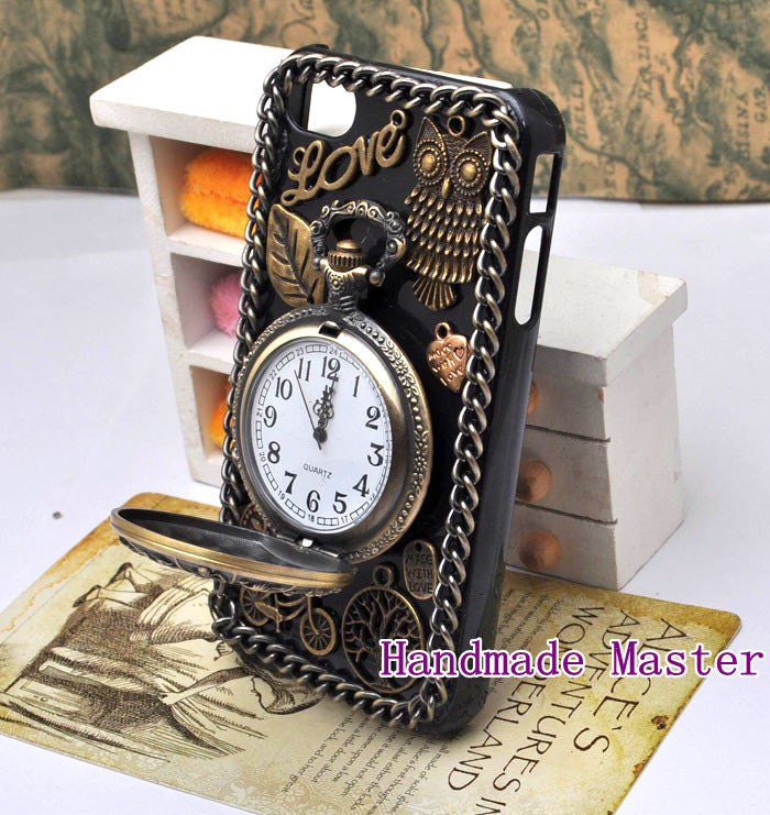 Steampunk Retro Gothic Style iPhone 5 5c 5s 4s 4 Case Cover, Vintage Antique Bronze Brass Clock Watch Owl Bicycle Love Heart - HandmadeMaster