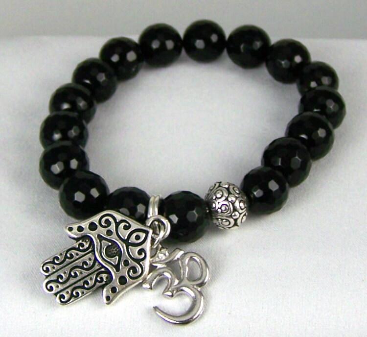 Stretchy Bracelet, Black Onyx Stretch Bracelet, Buddhist Jewelry, Energy Jewelry, Free Shipping