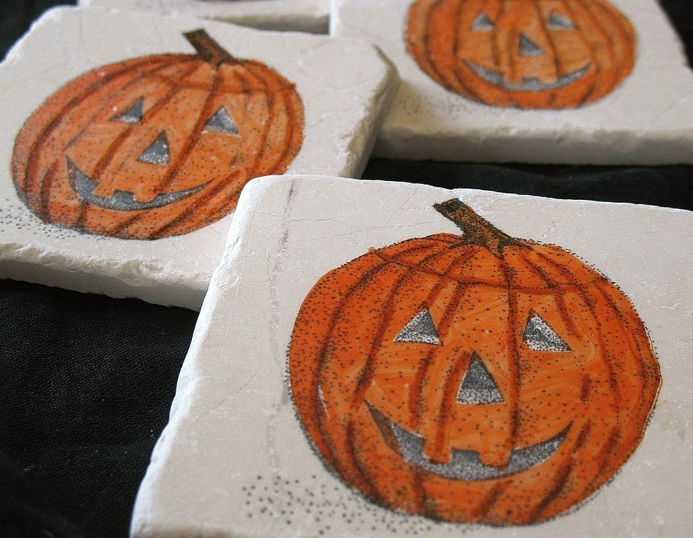 Jack O'Lantern Halloween Coasters, Set of 4