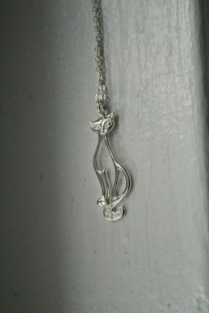 Sweet Sterling Retro Kitty Necklace
