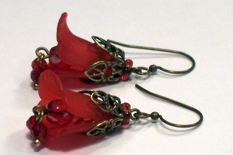 Red And Antique Brass Lilly Flower Earrings  Red by malves1009 from etsy.com
