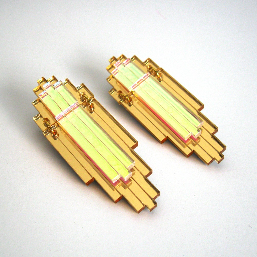 Art Deco Statement Earrings - Iridescent Gold Mirror Laser Cut Jewel Acrylic Perspex