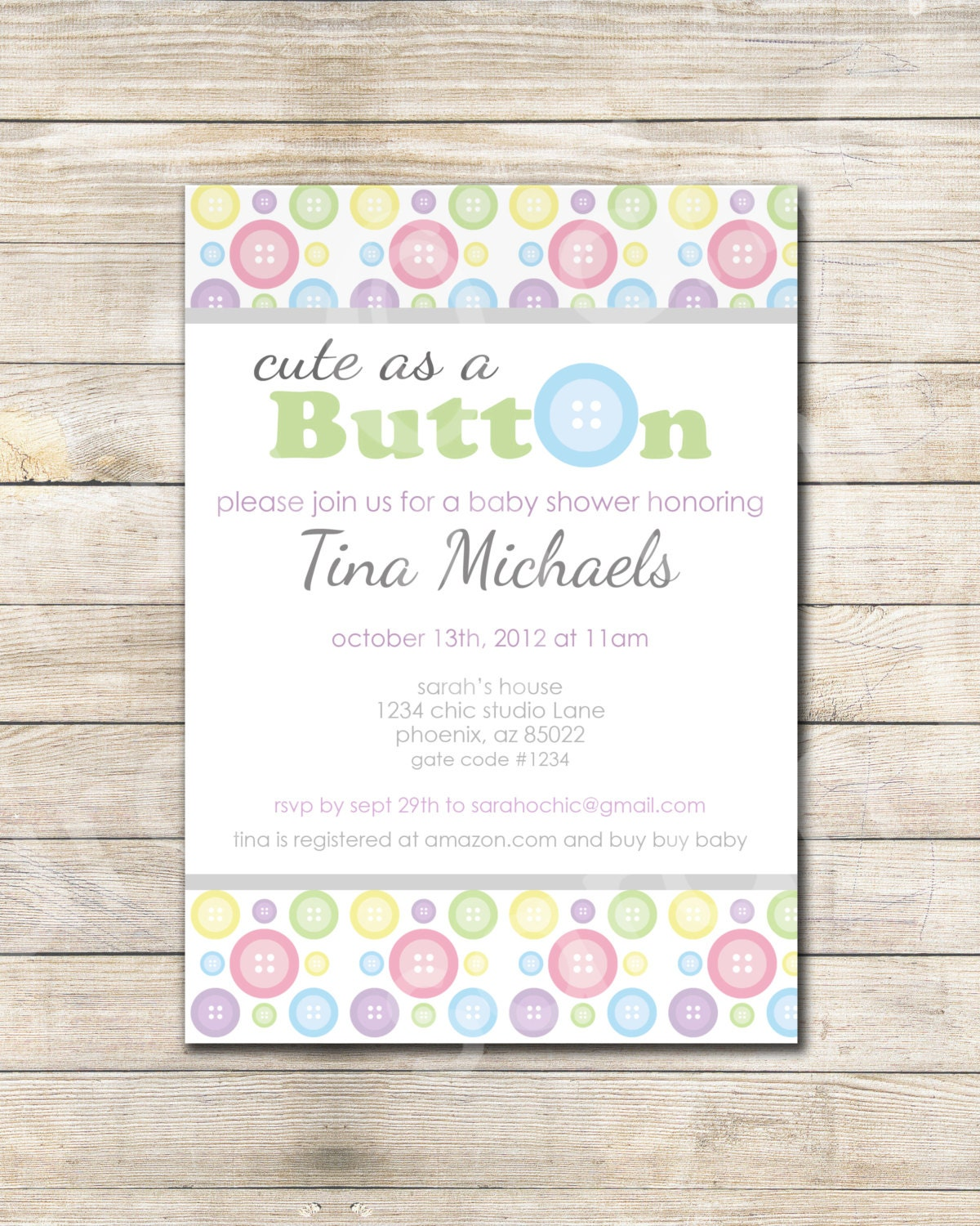 ... chic -- multi colored, pastel, Button, purple, grey,baby shower