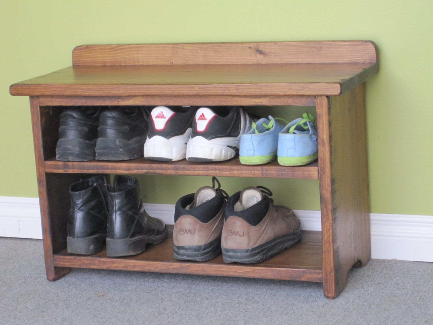 Shoe Rack / Wooden Shoe Bench / Rustic By HarvestTreasuresInc. Full resolution  snapshot, nominally Width 1500 Height 1125 pixels, snapshot with #7E8A41.