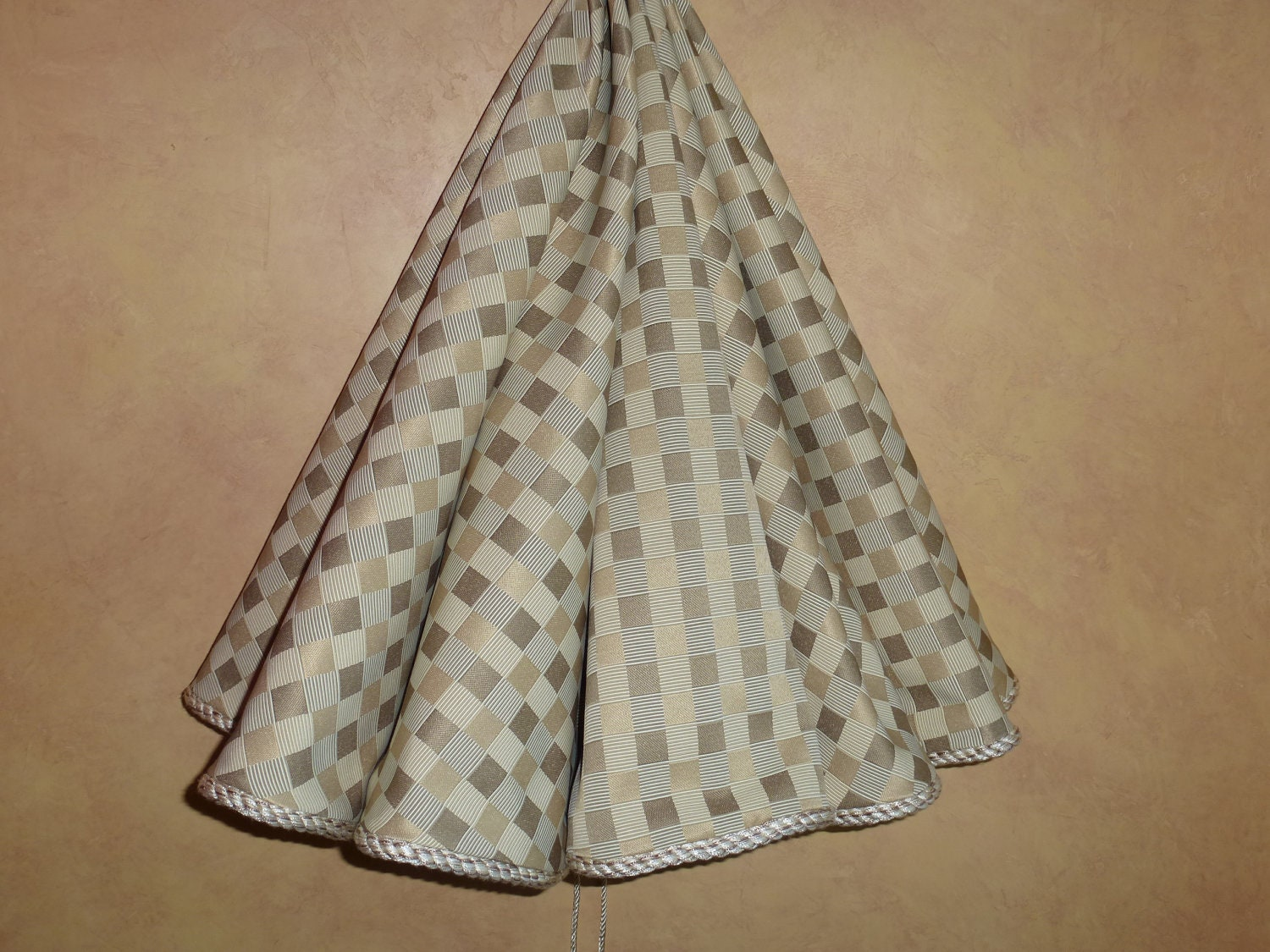 Christmas tree skirt with elegant cream squares by