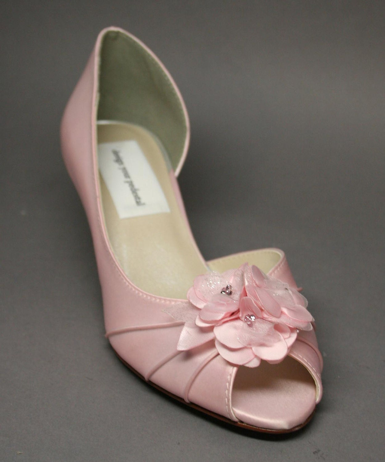 Blue Wedding Shoes -- Pale Pink  Peeptoes with Matching Pink Satin Flower Adornment