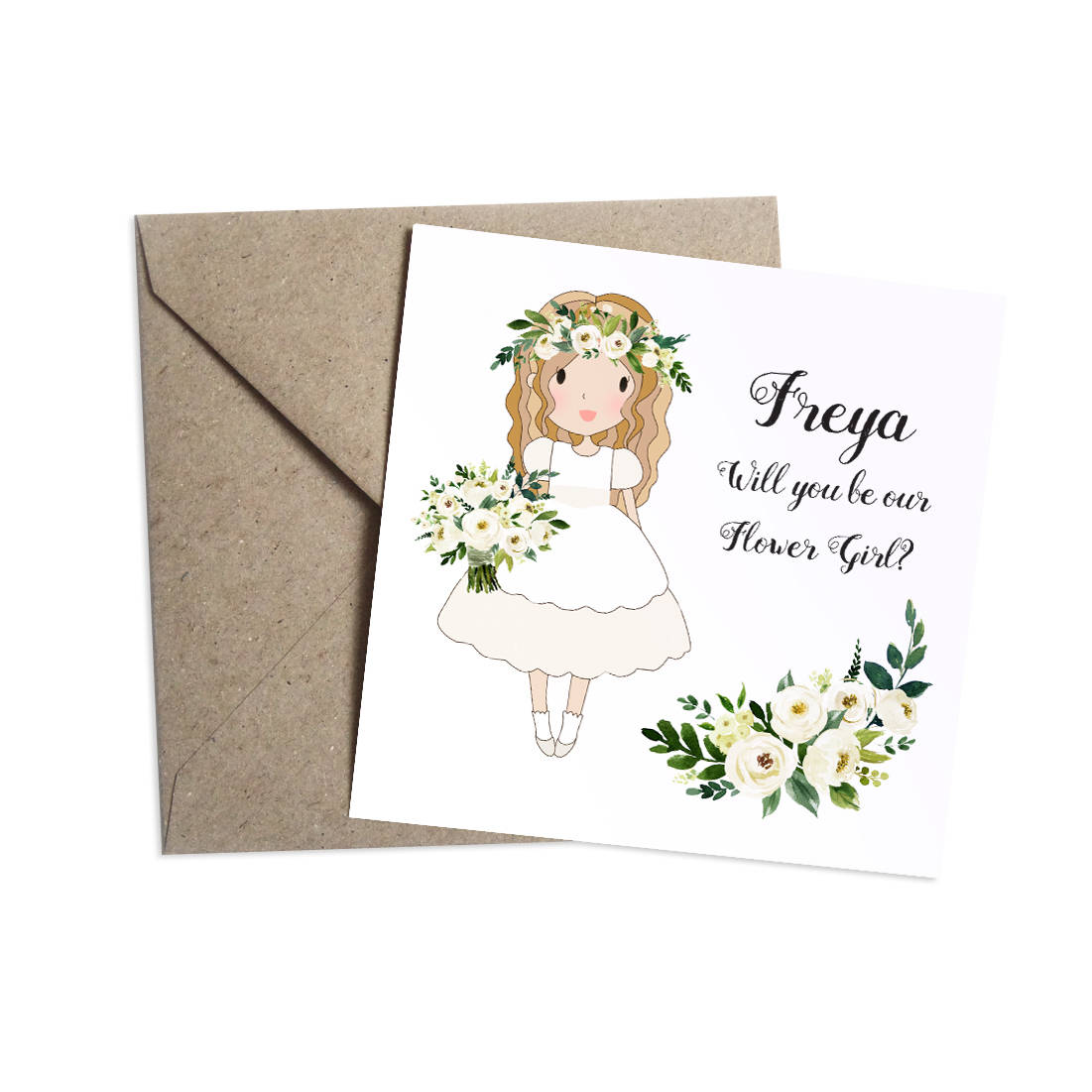 Will You Be My Flower Girl Card Personalised, White Floral Wedding, White Roses, Flower Girl, Bridesmaid, Page Boy, Usher, Ring Bearer