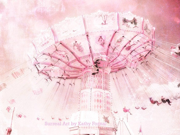 Carnival Ferris Wheel Photos - Dreamy Baby Pink Carnival Art, Baby Child's Room Nursery Decor, Ferris Wheel Photos 8