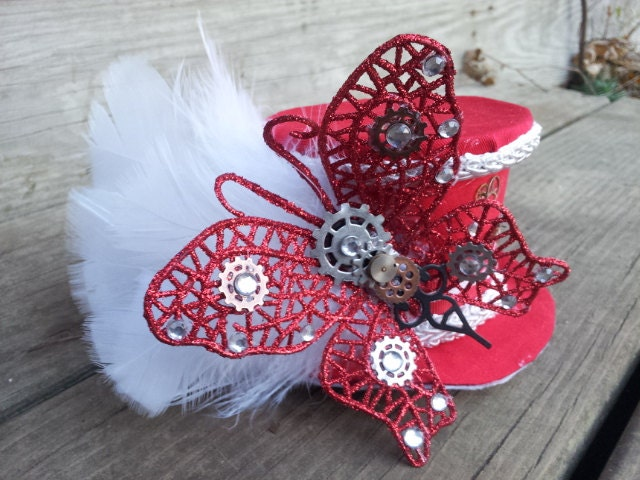 Red and White Butterfly Feather Steampunk Mini Top Hat Fascinator