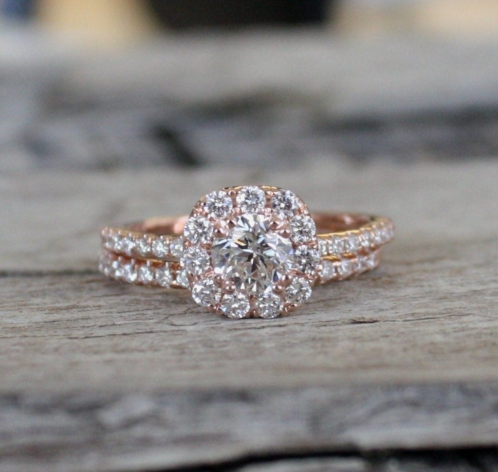 Diamond Halo Engagement and Wedding Ring Set in 14K Rose Gold