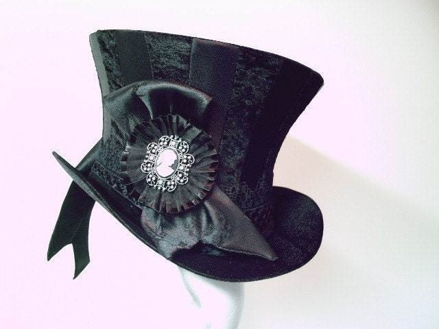 Black Stripey Top Hat with Cameo Victorian, Goth