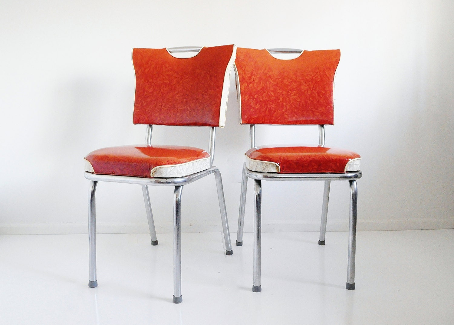 Chrome and vinyl dinette chair mid century red by thewhitepepper