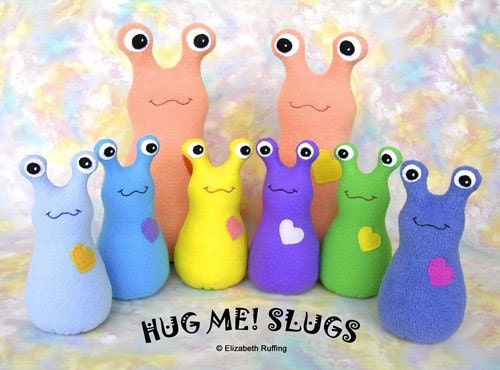 Name THIS slug, Hug Me Slug, Original Art Toy by Elizabeth Ruffing, Small Sized, Fleece, Denim-colored blue and Magenta, Ready-made
