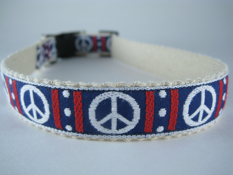 White Peace Signs hemp dog collar