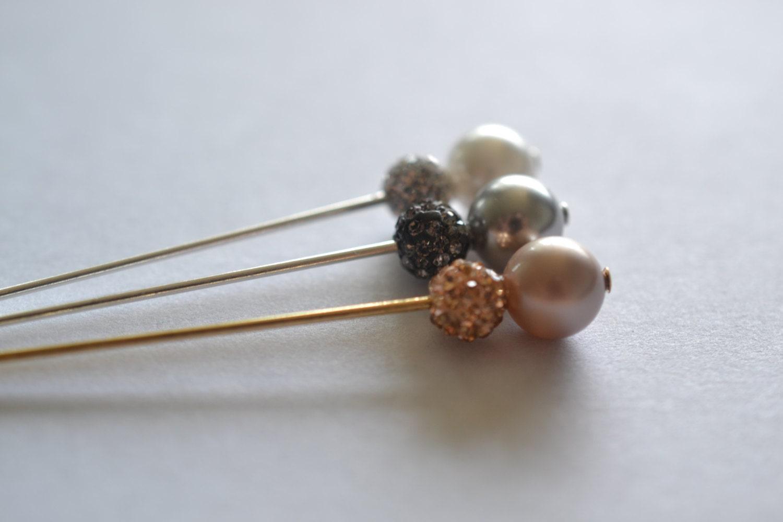 Set of 3 Swarovski Pearl and Crystal Hijab Pins
