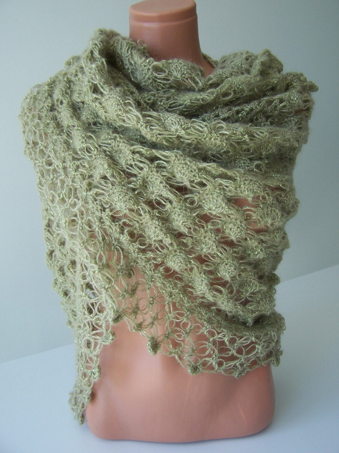 GREEN ANGORA SHAWL by Ebruk on Etsy