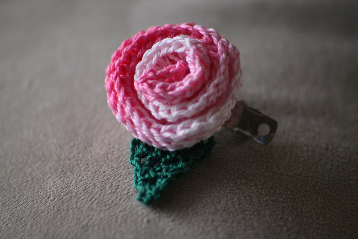 Pink Rose Bud Hair Clip
