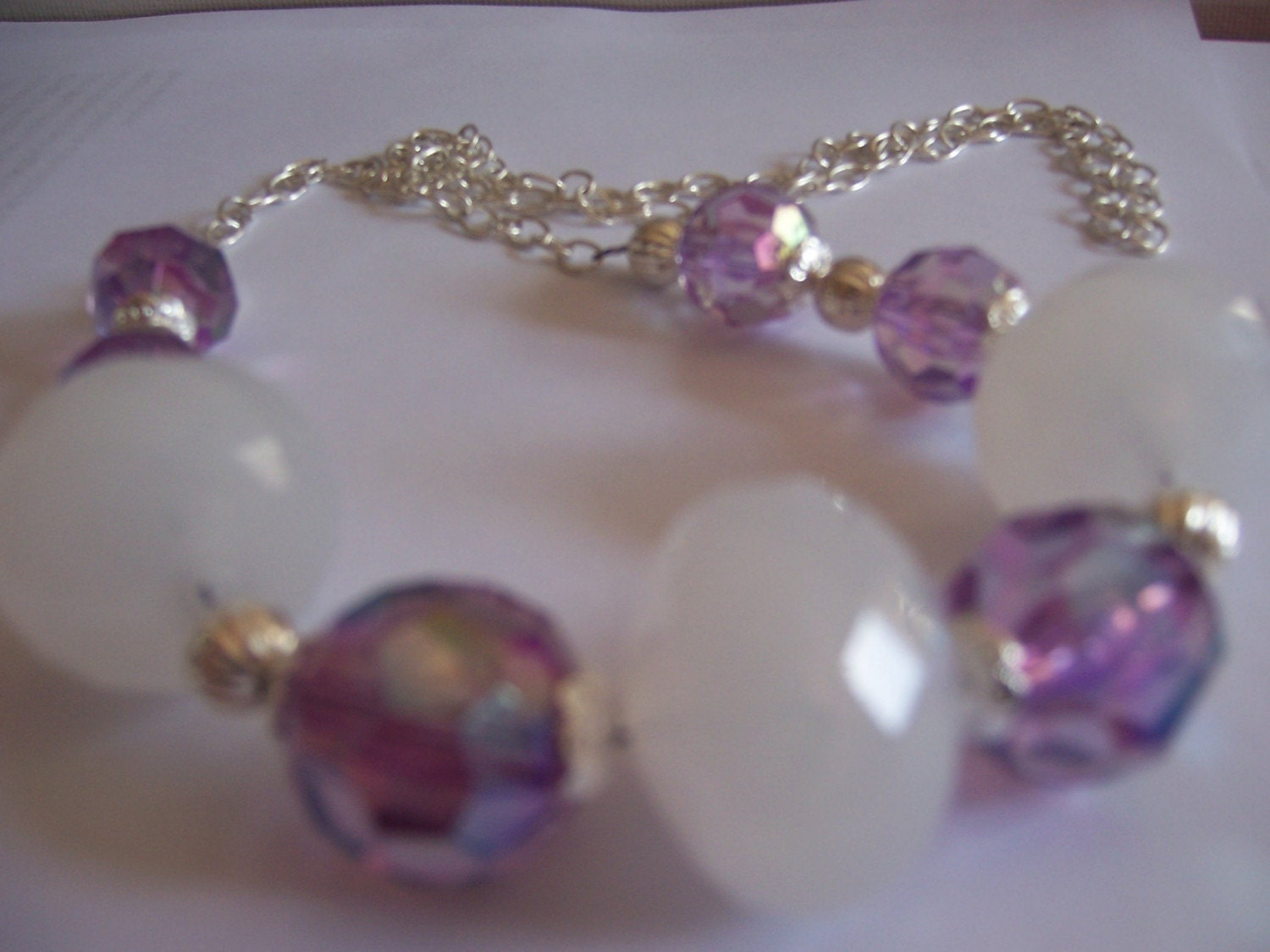 Purple and  white Mix Necklace