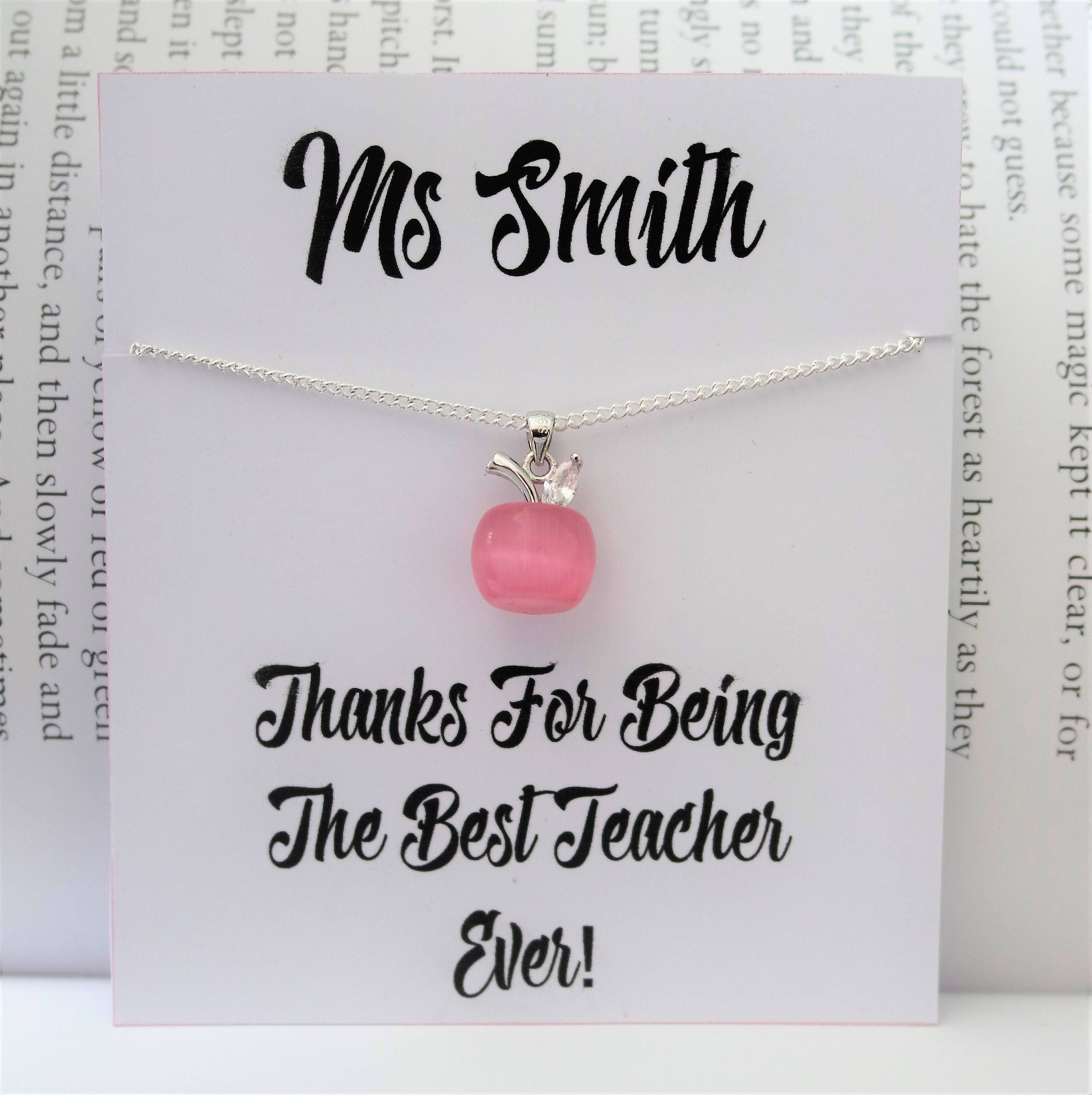 Teachers Apple Necklace Teacher Necklace Best Teacher Gift Thank You Apple Choker School Graduation Personalised Student Necklace