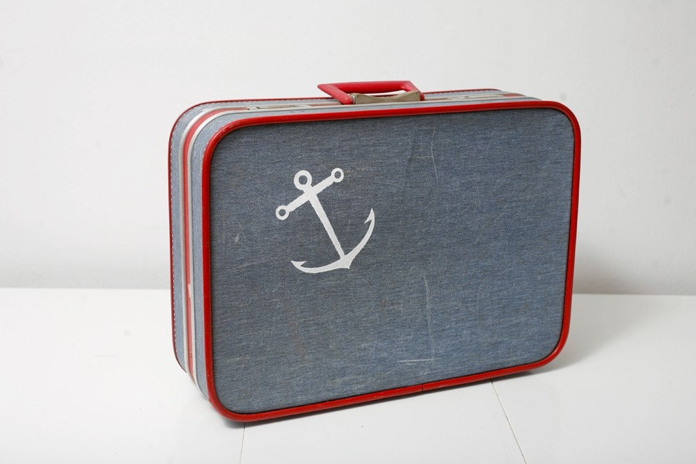 Vintage Luggage Upcycled with a Screen Printed Anchor