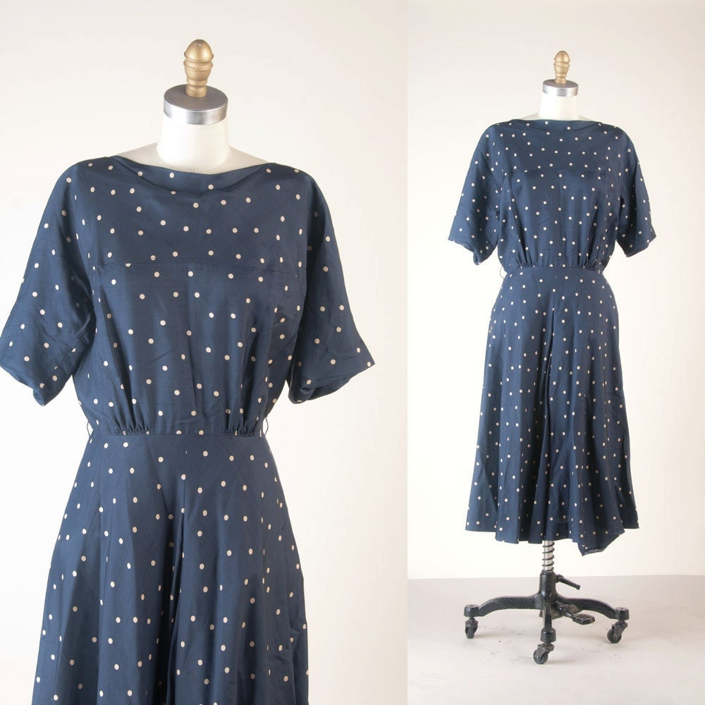 Vintage 50s R&K Polka Dot Dress by MariesVintage on Etsy