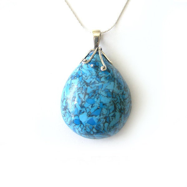 Polymer Clay Teardrop Pendant in Turquoise