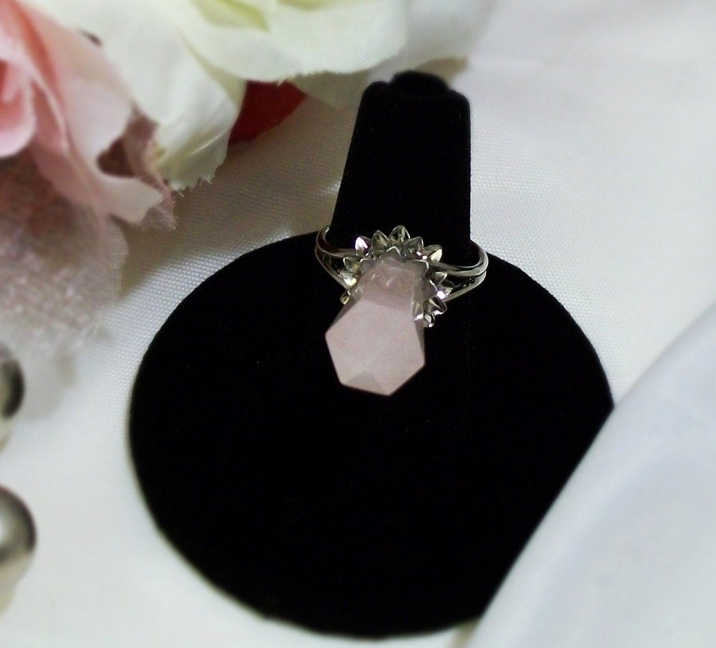 Silver Chrysanthemum Obelisk Rose Quartz Ring of Inner Peace