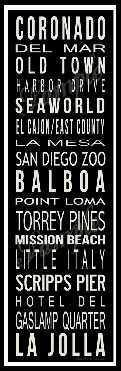 Custom San Diego Destination Poster in Printable File - Made to Order