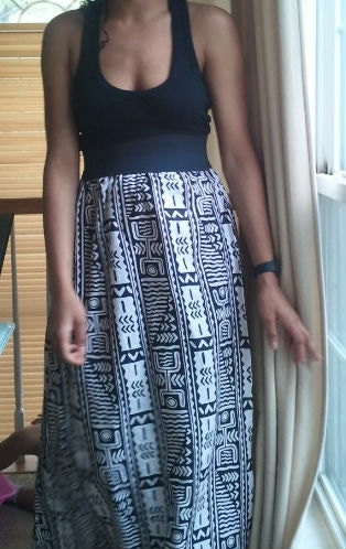 Long  AFrican Print Tank Top Dress with Racer Back