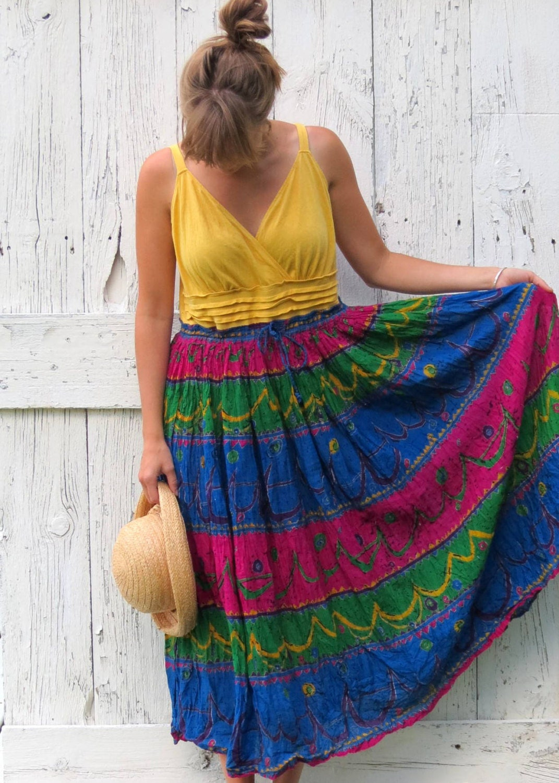 Golden Gypsy Girl upcycled hippie sundress bright bohemian summer dress boho - wearlovenow