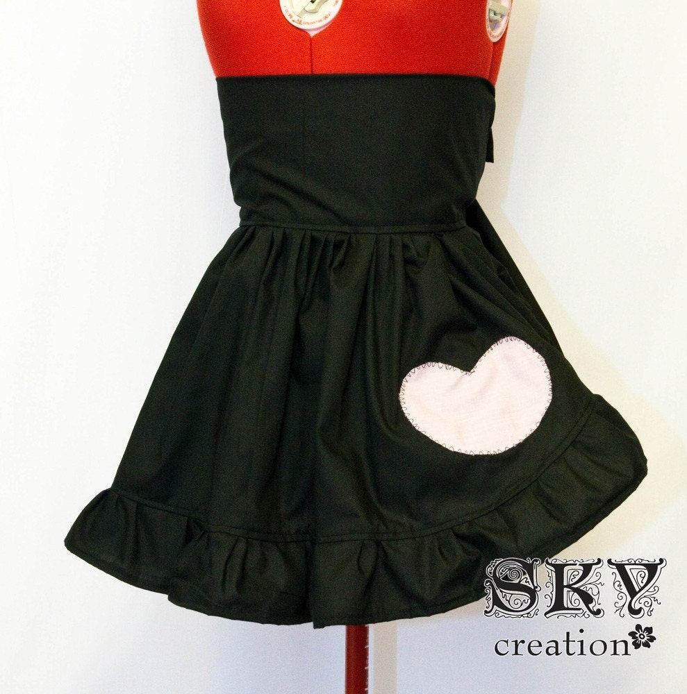 Black Heart Half Apron