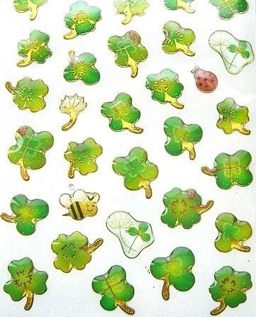 Cute Japanese  Stickers - Colorful Clovers Ladybugs And Bees (S294)