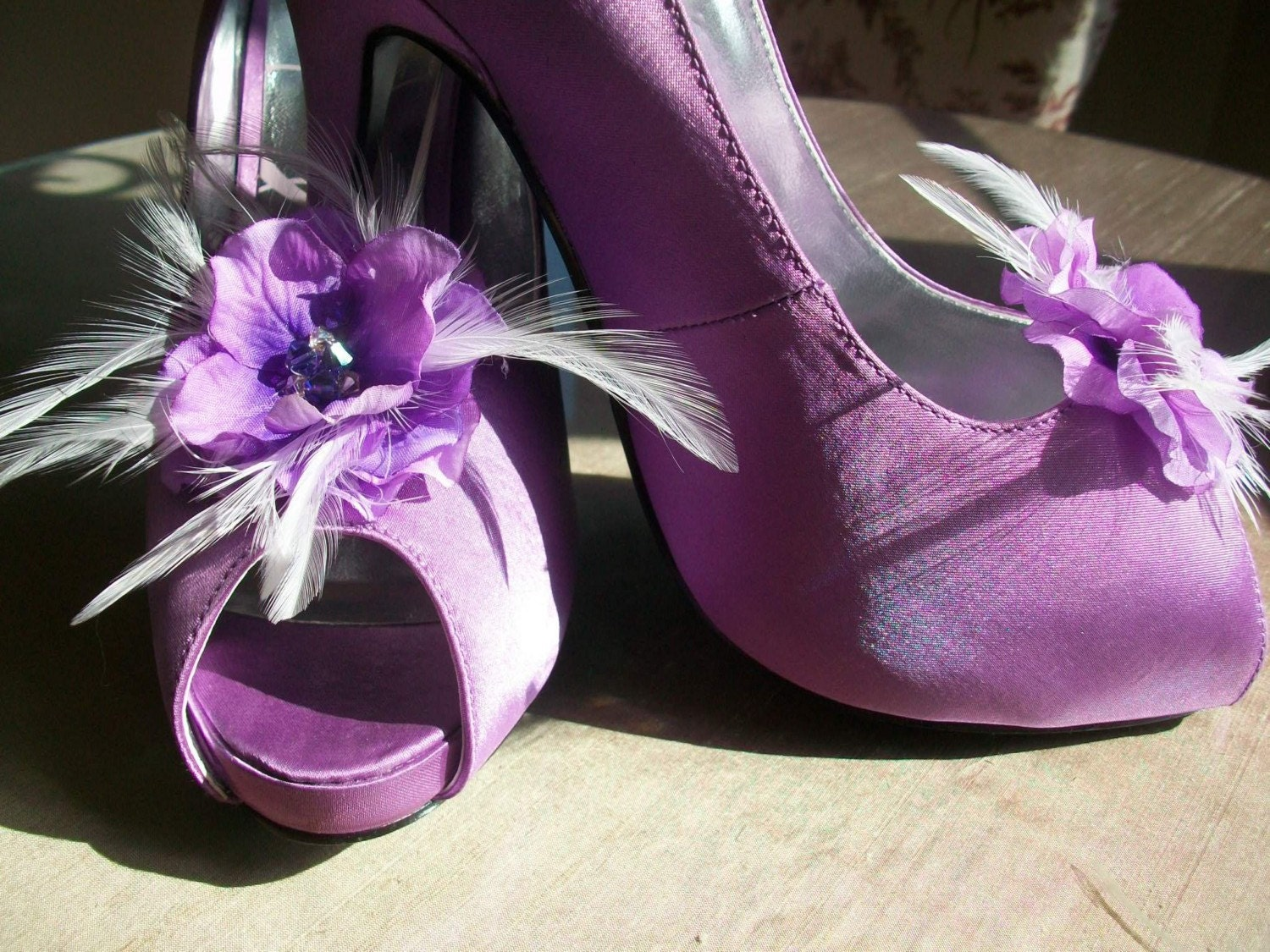 Purple  Feather Shoe Clips For Your Special Occassions