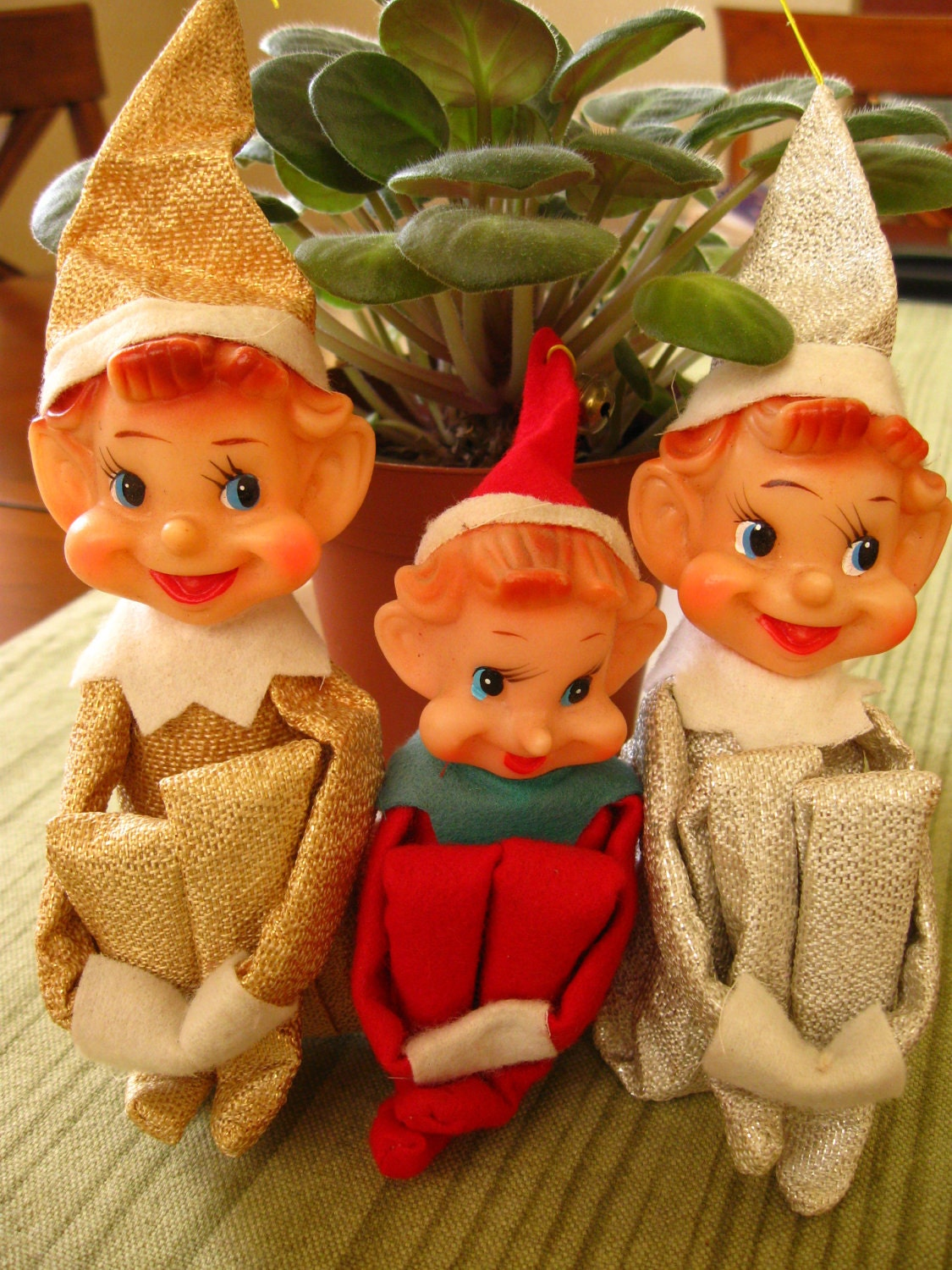 vintage lot of 3 pixie elf tree hugger, made in Japan