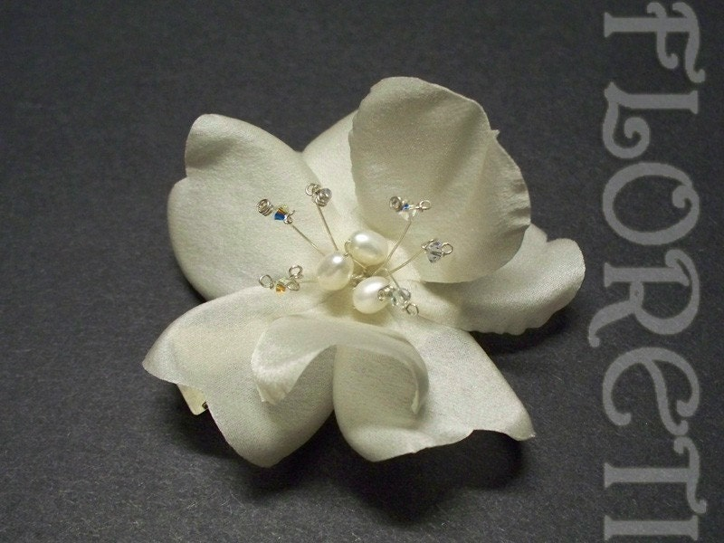 Couture Ivory Dogwood Rose Silk Bridal Hair Accessory from etsy.com
