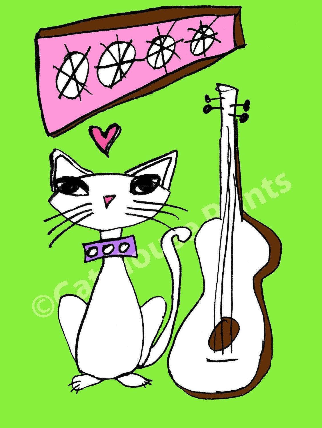 Green Guitar Cat - 8.5 x 11 print