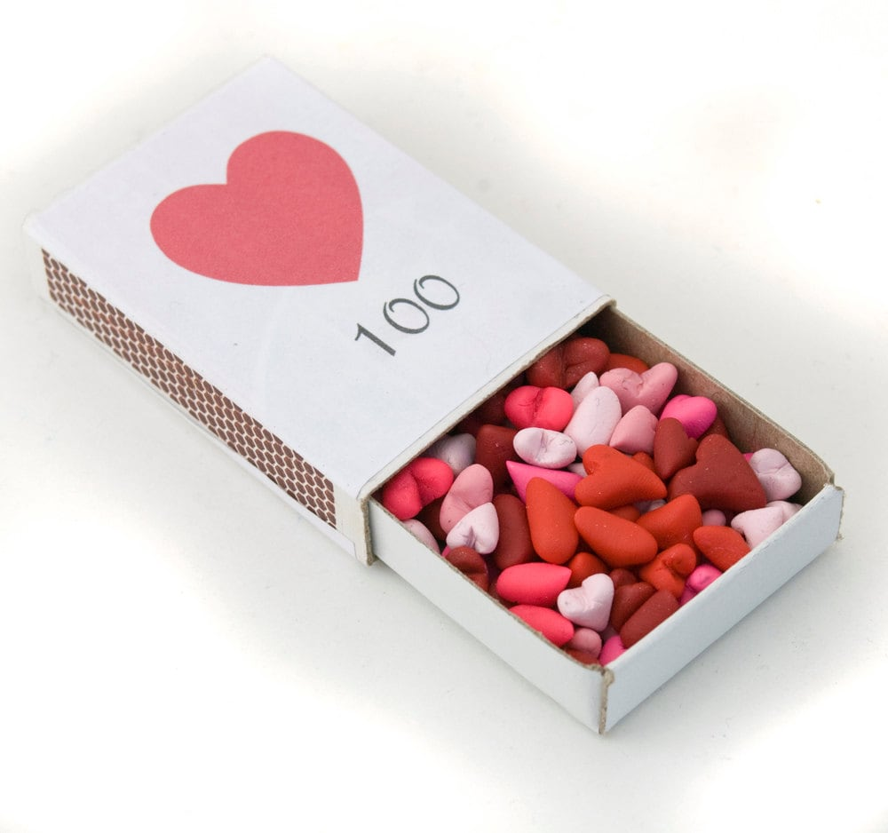 100 hearts in a matchbox - love keepsake gift - personalize - choose your colors - amberhlynn