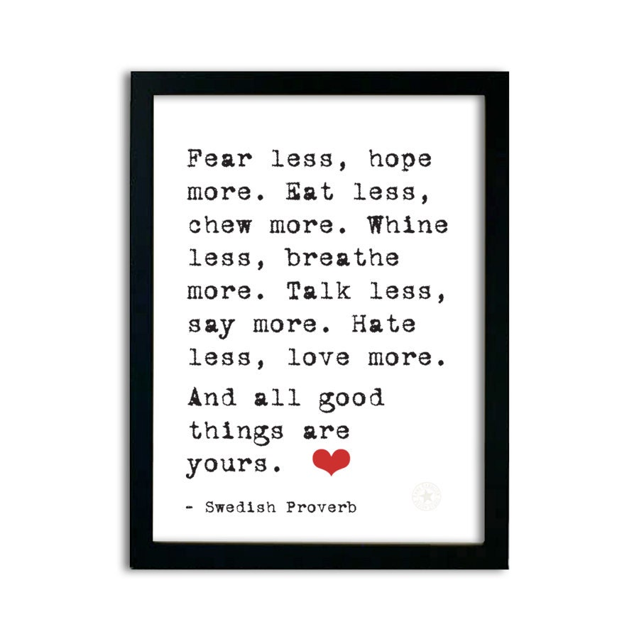 Words of Wisdom � Fear Less, Hope More � Typography Print 8 x 10 - AnneGarrisonStudio
