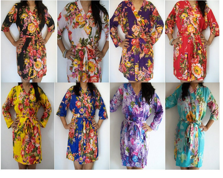 Set of 8 Floral Kimono Crossover patterned Robe Wrap - Bridesmaids gift,Bridesmaids Robes, Bridal shower favors, baby shower