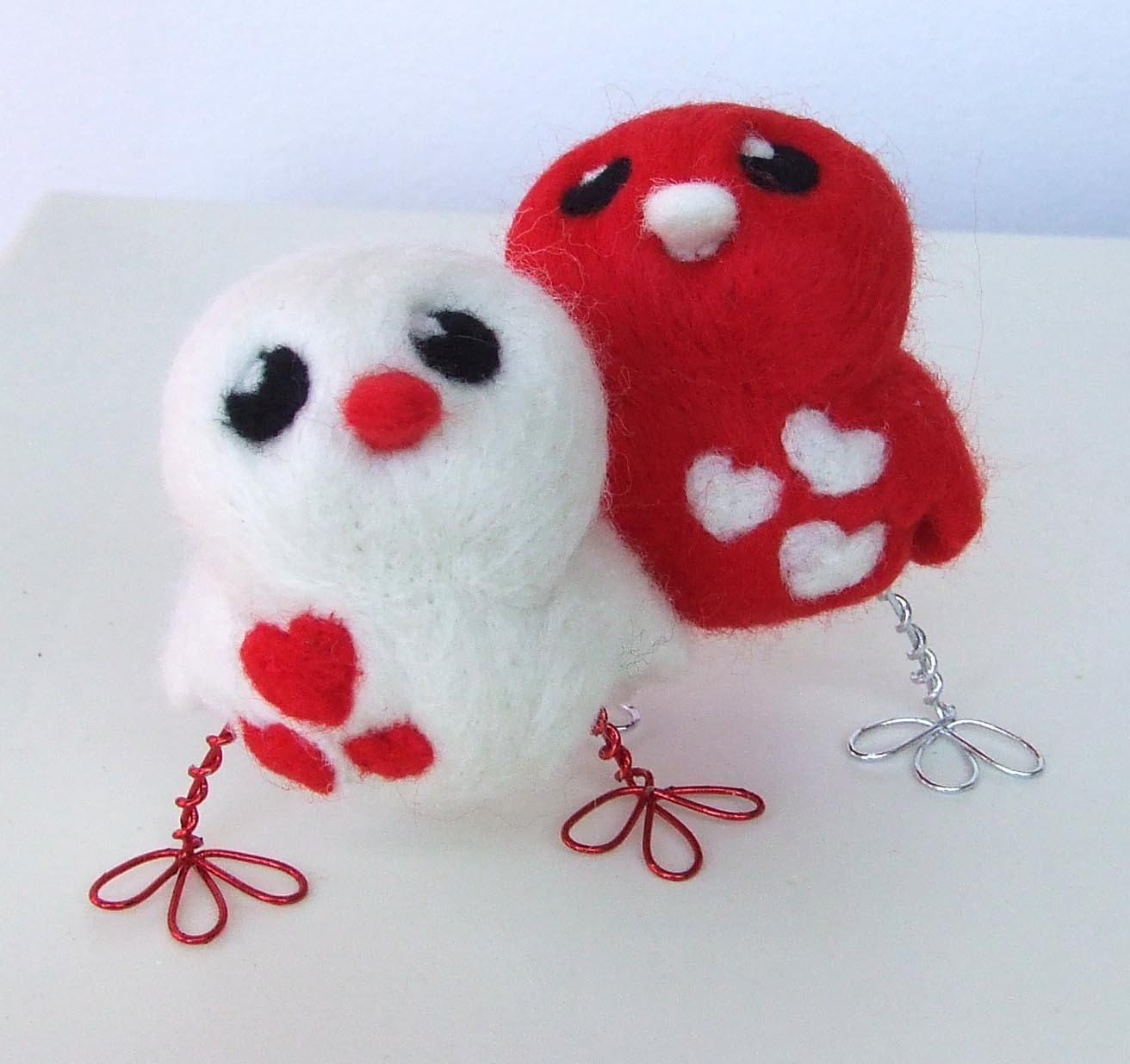 Tweet Pair of Love Birds Red and White Opposites Wedding Cake topper
