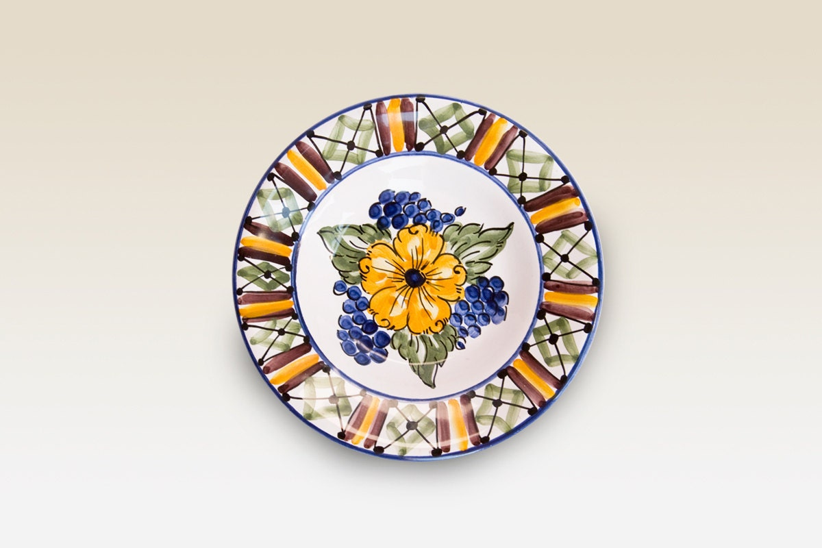 Little plate with blue, yellow, green Flower and Grape motives. Haban Ceramic. Hand painted Motives. - HabanCeramic