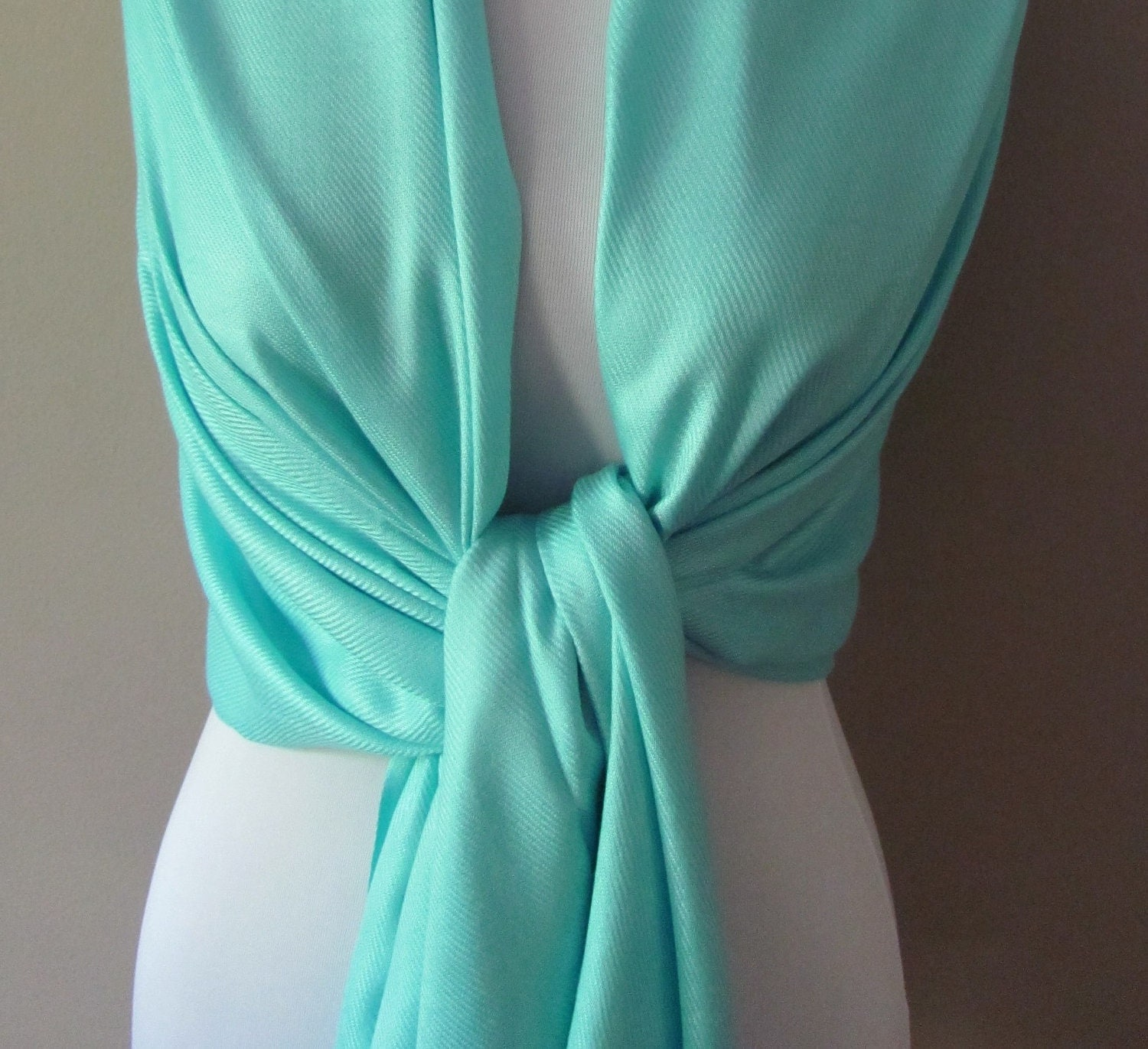 Aqua Blue Pashmina Scarf, Wrap, Bridesmaid or Bridal Shawl