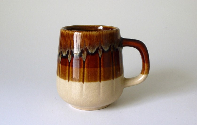 Pair of Two Vintage Glaze Coffee Mugs