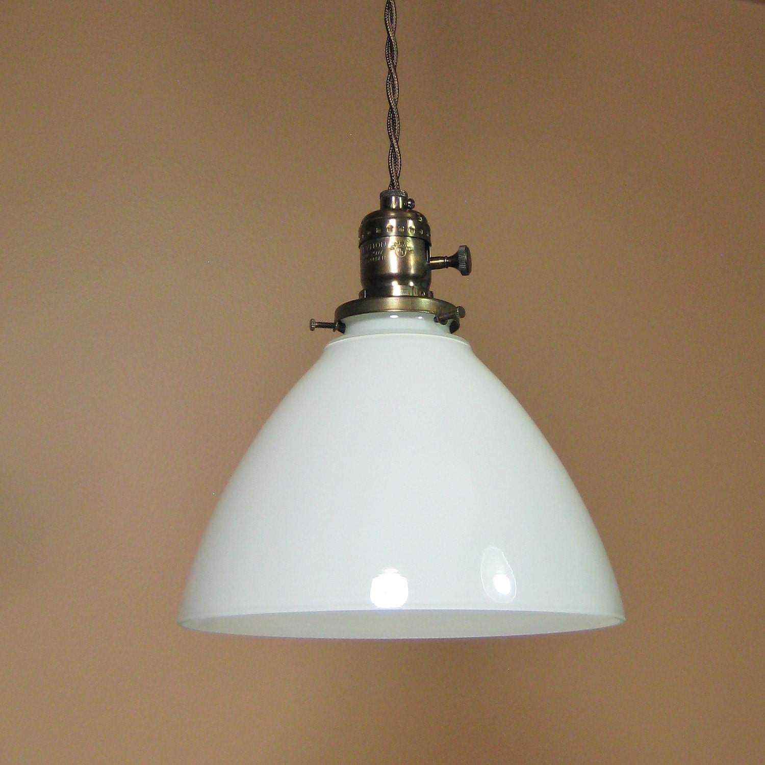 SALE Pendant Light With White Milk Glass Hand By