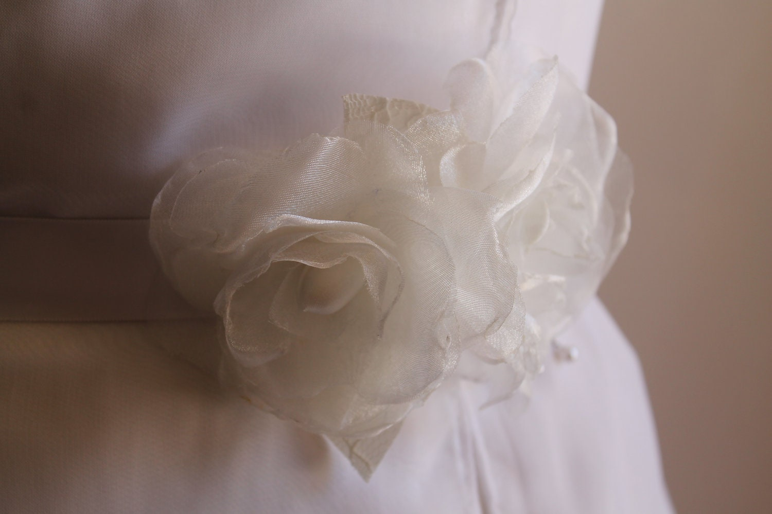 Bridal Sash Roses Organza Set Flower, Wedding Sash, Bridal Belt ,Wedding Accessories