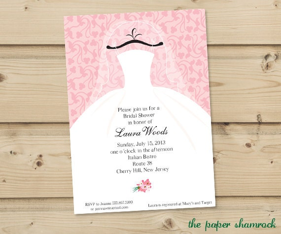 Bridal Shower Invitation, Wedding Shower Invitations - Dress on Hanger