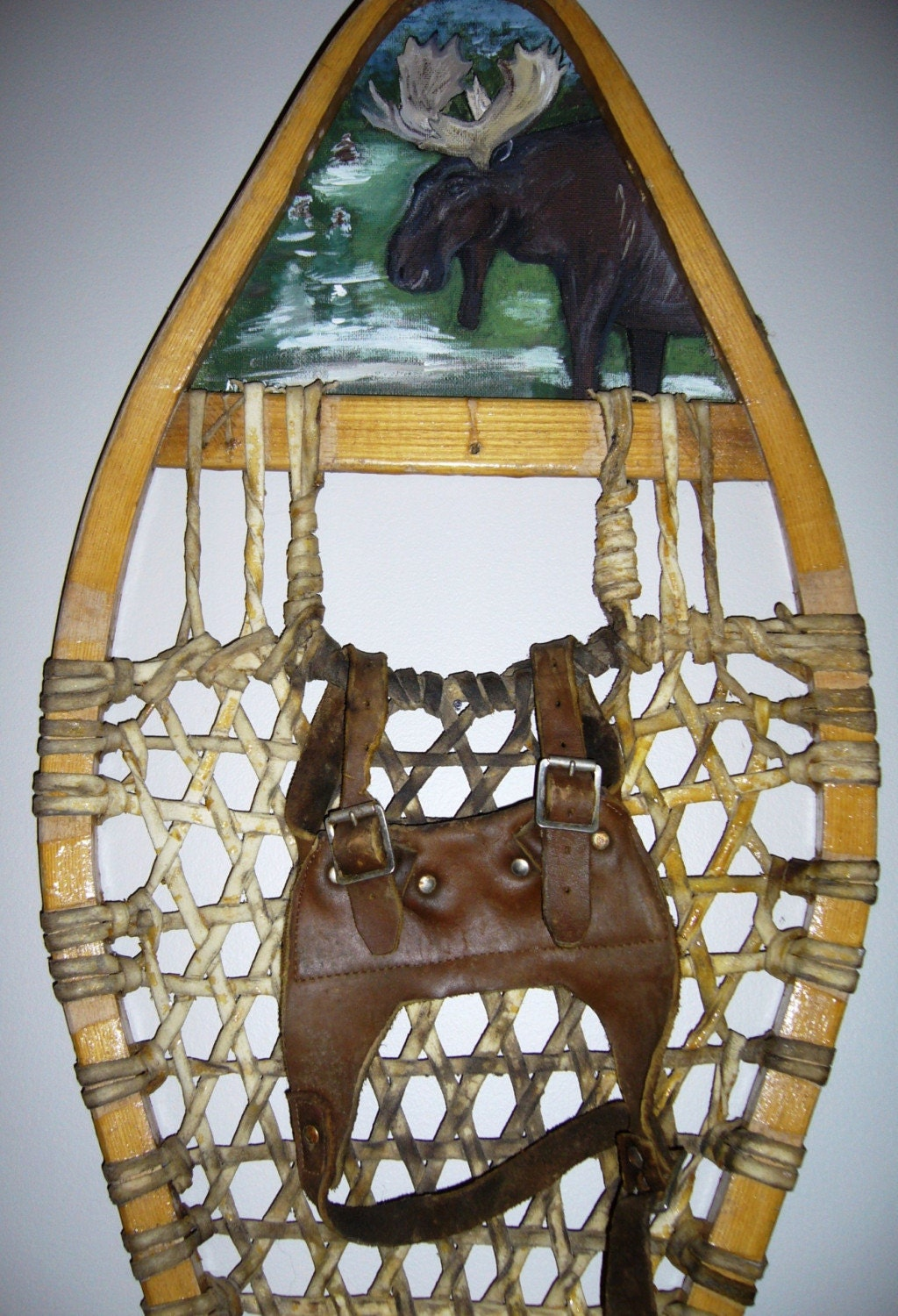 Vintage Snowshoe with Hand Painted Moose Scene