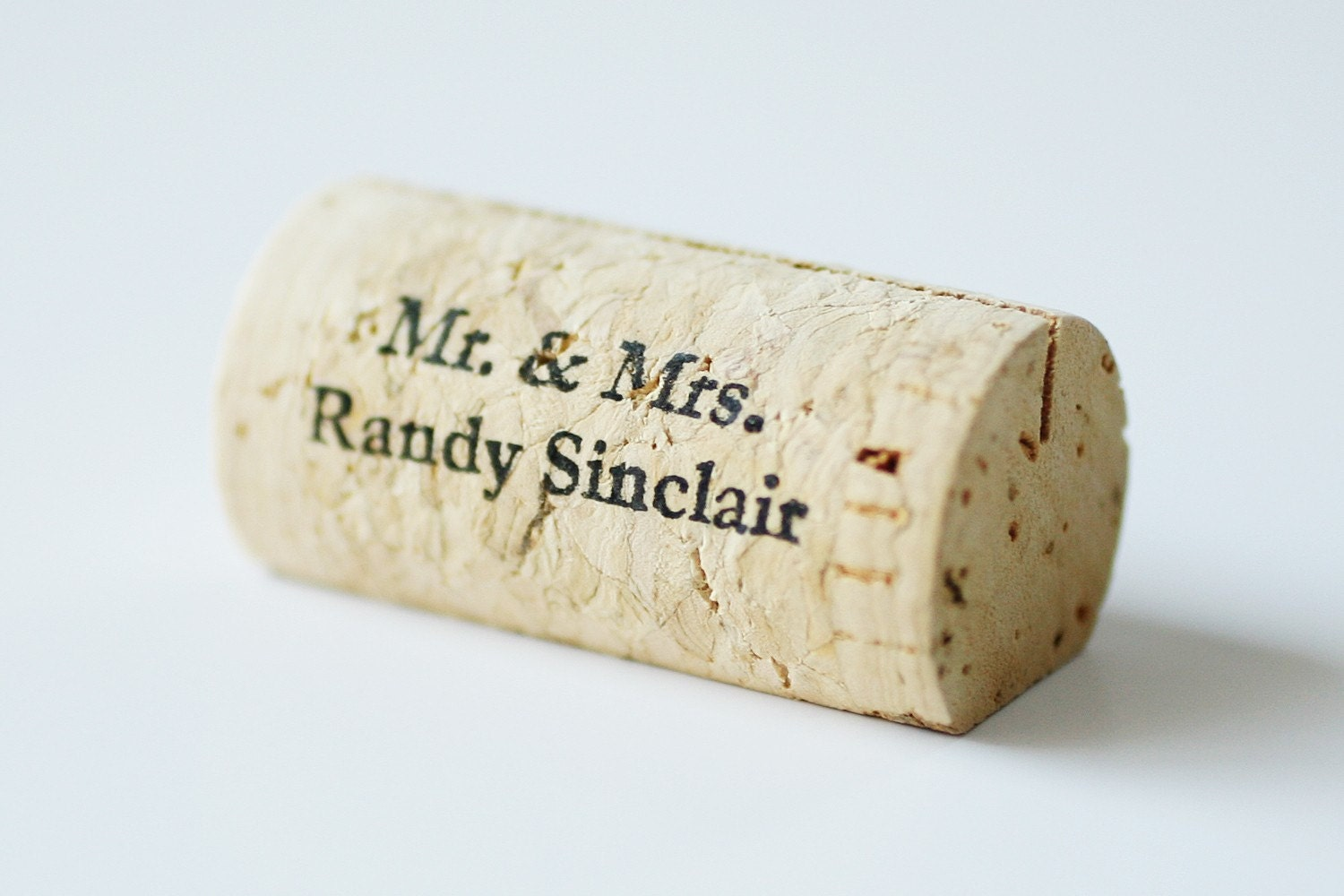 Handmade Weddings on Etsy - Personalized Wine Cork Place Card Holders by CorkeyCreations