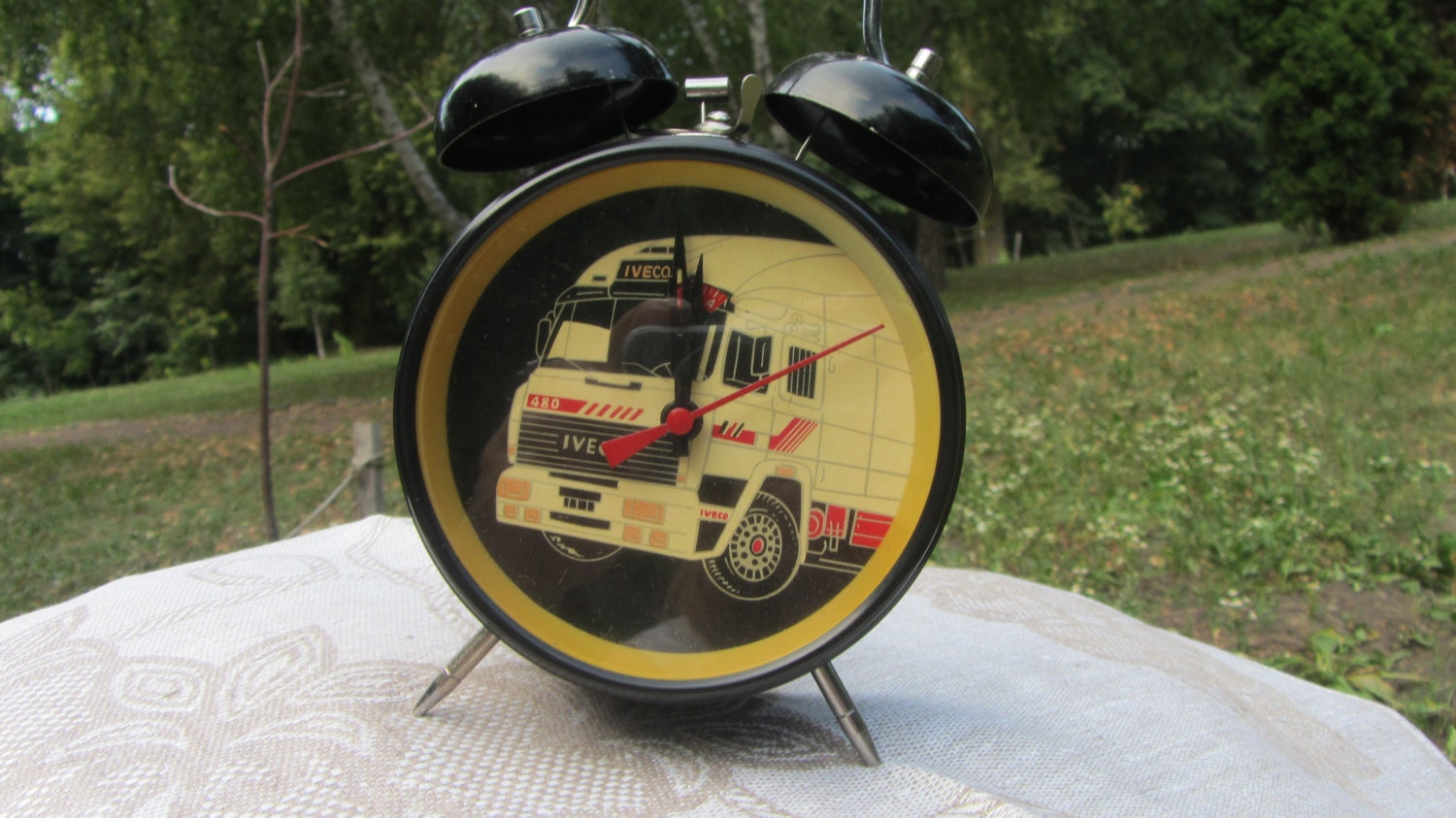 New Old Stock 90's Clock, Iveco Vintage Clock, alarm clock with twin bells, Wind