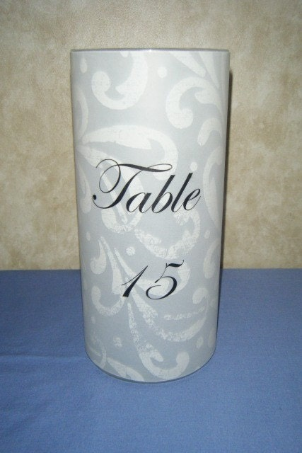 Table Number Luminary with Ornate Design